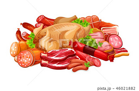 Sausages with meat products and poultry in heap 46021882