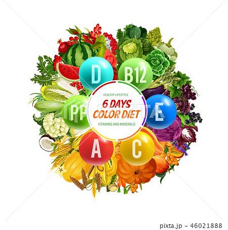 Vitamin B, C and D, color diet, detox nutrition 46021888