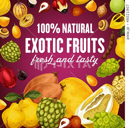 Natural exotic fruits poster with vegetarian food 46021907