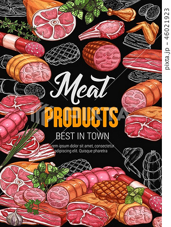 Meat products poster for butchery shop or market 46021923