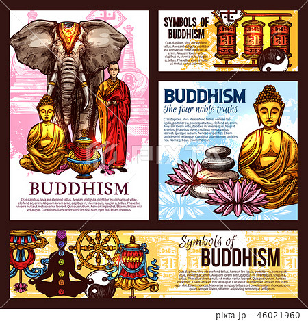 Buddhism religion sketch symbols and elements 46021960