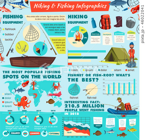Camping and fishing sport infographics 46022041