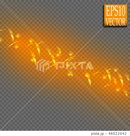 Set of magic glowing spark swirl trail effect isolated on transparent background. Bokeh glitter wave 46022042