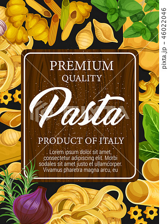 Pasta of Italy poster with pastry and seasoning 46022046