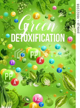 Detox color diet poster with green day food menu 46022308