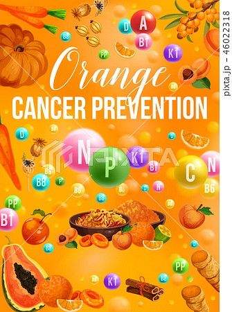 Detox color diet poster with orange day products 46022318