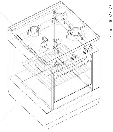 Gas stove concept. 3d illustration 46027572