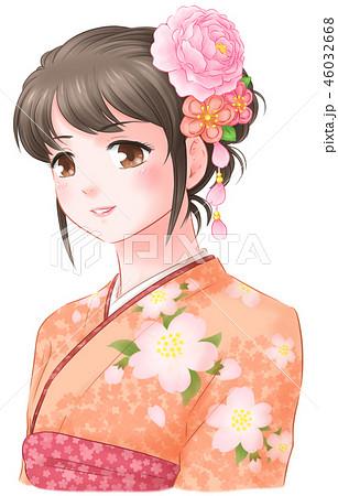 桜の着物女子橙色のイラスト素材 46032668 Pixta