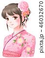 桜の着物女子・桃色 46032670