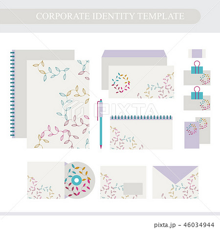Corporate identity design template with florals 46034944