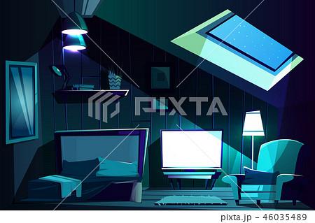 Vector attic room at night. Cartoon garret 46035489