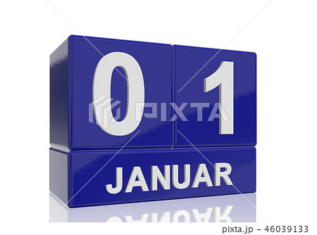 The date of 1 January in white letters 46039133