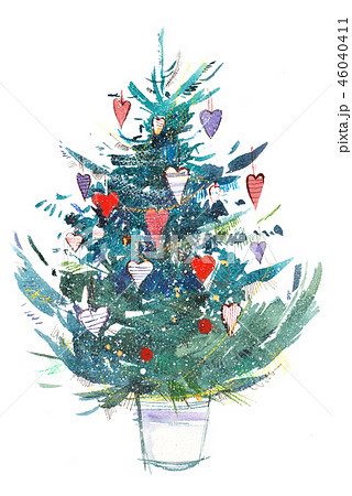 Christmas tree. New year, xmas celebration. Watercolor drawing. Watercolour painting 46040411