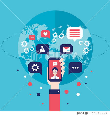 Social network concept Hand with mobile phone 46040995