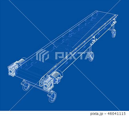 3D outline conveyor belt. Vector rendering of 3d 46041115