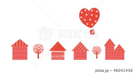 バレンタインイメージ(街並と気球,小) 46041436