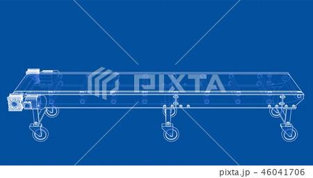 3D outline conveyor belt. Vector rendering of 3d 46041706