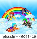 パラシュート 落下傘 人々のイラスト 46043419
