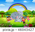 ゾウ 象 パークのイラスト 46043427