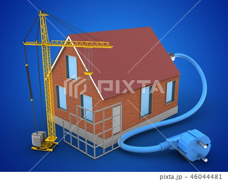 3d illustration of house with power cable 46044481