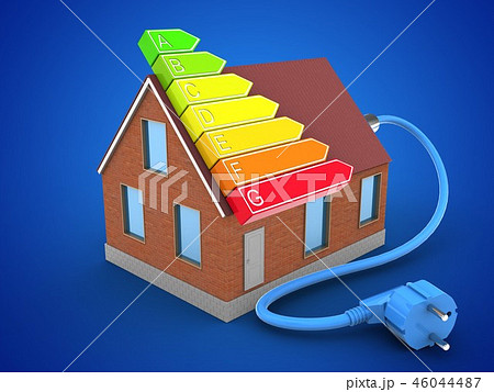 3d illustration of house with power cable 46044487