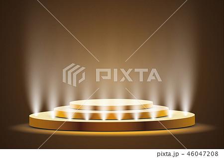 Golden podium with a spotlight. 46047208