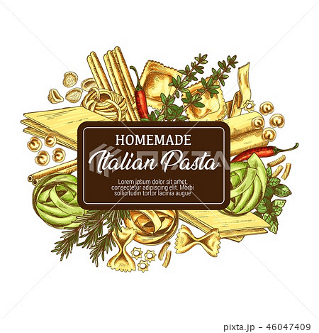 Italian pasta with seasonings icon sketch 46047409