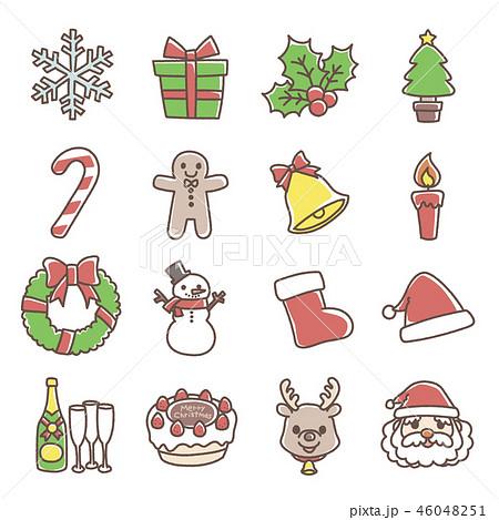 クリスマスのモチーフ 手書き風 のイラスト素材