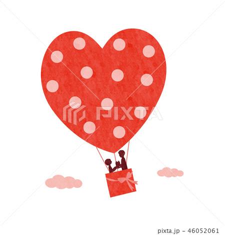 バレンタインイメージ(気球と人物)文字なし 46052061