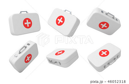 3d rendering set of first aid medical boxes isolated on white background 46052318
