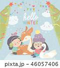 鹿 かわいい キュートのイラスト 46057406