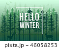 Green winter forest with reindeer, vector 46058253