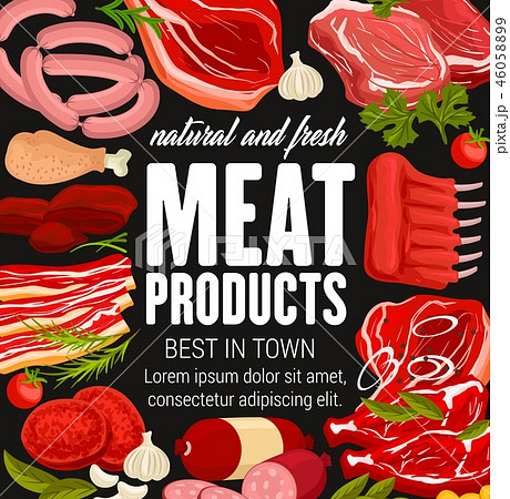 Butchery poster with meat products and sausages 46058899