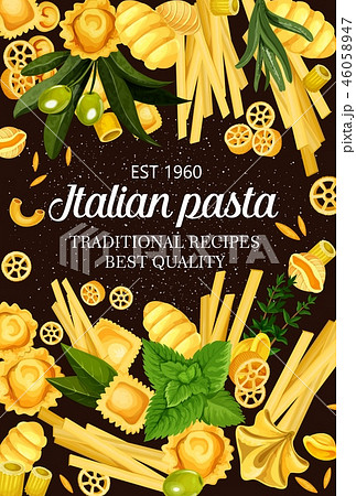 Italy cuisine food pasta and greens spaghetti menu 46058947
