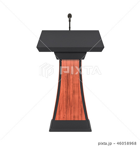 Wooden tribune with microphone, 3D rendering 46058968
