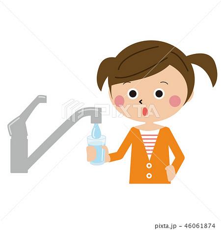 ポップなツインテールの女の子 水道で水を汲む 46061874