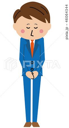 ポップな青いスーツのサラリーマン お辞儀 46064344