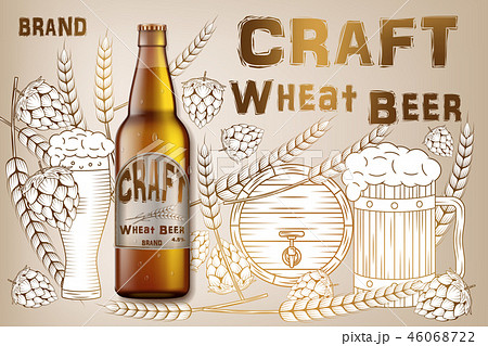 Craft wheat beer ads design. Realistic malt bottle beer isolated on retro background with 46068722