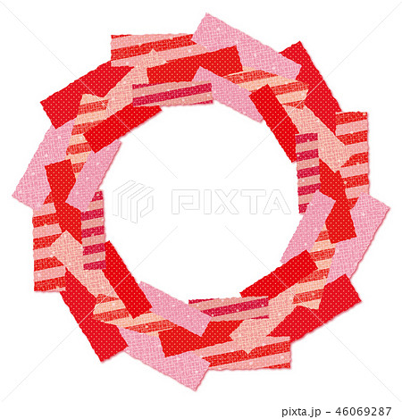 パッチワーク生地のリース 輪 枠 赤 ストライプ 46069287