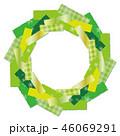 クリスマスリース 緑 フレームのイラスト 46069291