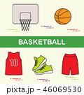 スポーツ バスケ バスケットボールのイラスト 46069530