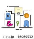 スポーツ バスケ バスケットボールのイラスト 46069532