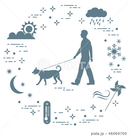 Man walking a dog on a leash in any weather 46069700