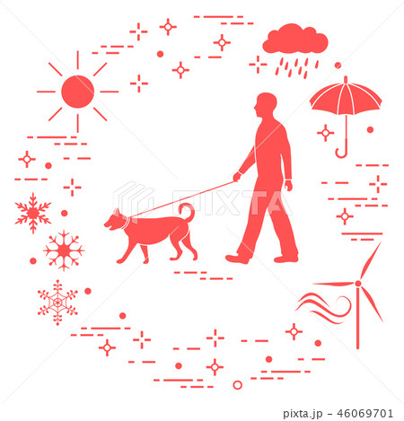 Man walking a dog on a leash in any weather 46069701