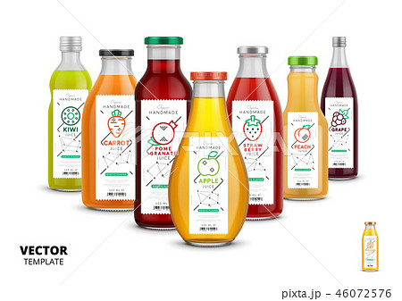 Fresh juice realistic glass bottle set 46072576