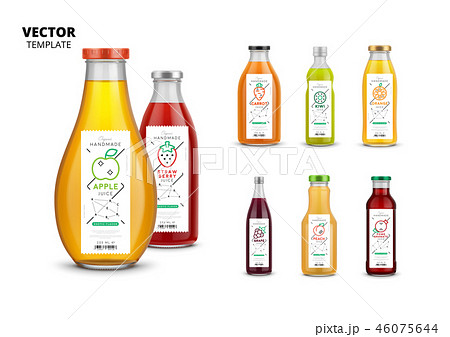 Fresh juice realistic glass bottles with labels 46075644
