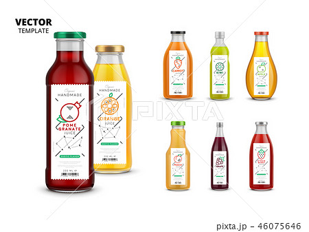 Fresh juice realistic glass bottles with labels 46075646