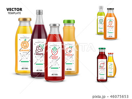 Fresh juice realistic glass bottles with labels 46075653