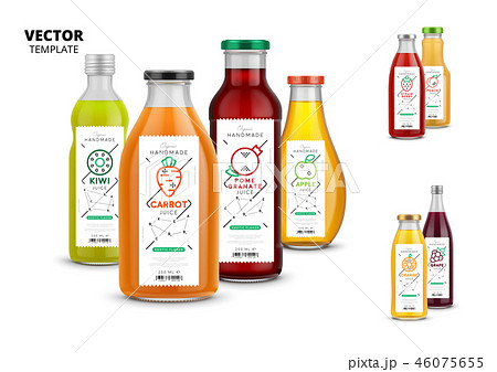 Fresh juice realistic glass bottle set with labels 46075655