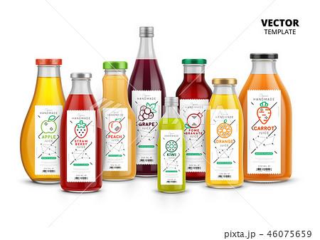 Fresh juice realistic glass canned bottle set 46075659